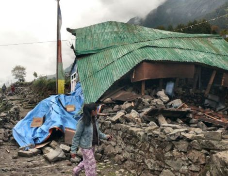 2015 Nepalese Earthquake damages house in Chaurikharka