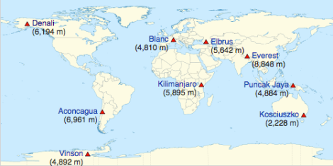 What Are the Seven Summits? map of the 4 seven summits lists