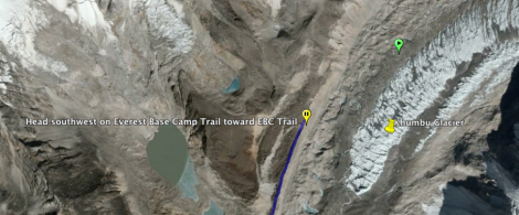Head Southwest on the Everest Base Camp Trail toward the EBC Trail for 2.8 km. (1.7 mi.).