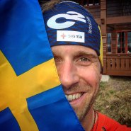 Fredrik Sträng proud of the Swedish flag (Facebook) before his K2 2017 expedition.