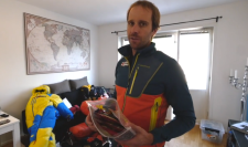 Fredrik Sträng pictured in his living room giving a tour of his gear for K2