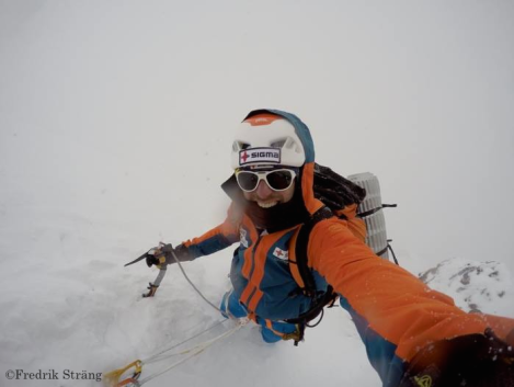 Fredrik Strang descending on K2 Base Camp in knee-deep snow k2 2017