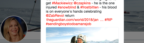 Tweet shows Vanessa O'Brien thinks the Nanga Parbat rescue of Elisabeth Revol could have done more to save Mackiewicz.