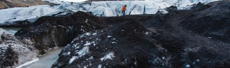 Climate Change is Affecting the Global Landscape of Mountains. Climber climbing on melting glacier. Climber climbing on melting glacier.