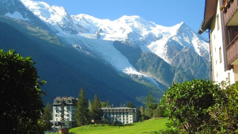 mont blanc in france. Melting mont blanc glacier