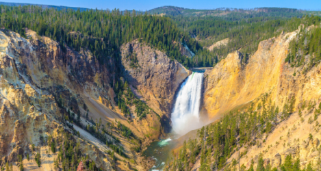 yellowstone national park canyons waterfall