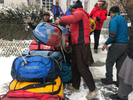 Apricot Tours k2 winter 2020 gathering gear for askole