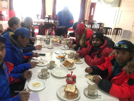Apricot Tours k2 winter 2020 team having breakfast in skardu