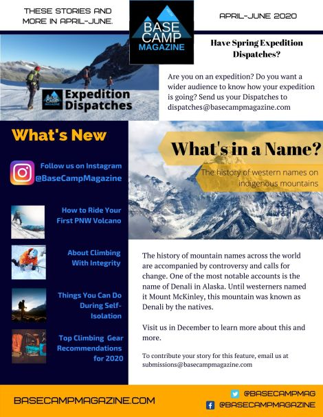 Here's the April-June 2020 Newsletter for upcoming content on Base Camp Magazine.