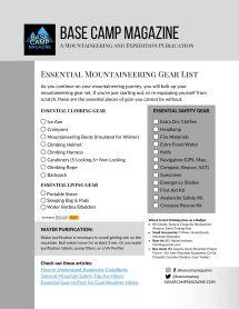 Downloadable Essential Mountaineering Gear List B/W