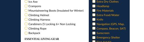 Downloadable Essential Mountaineering Gear List Color
