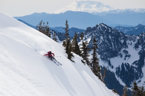 How to Ride Your First PNW Volcano geat the right gear, man skiing downhill